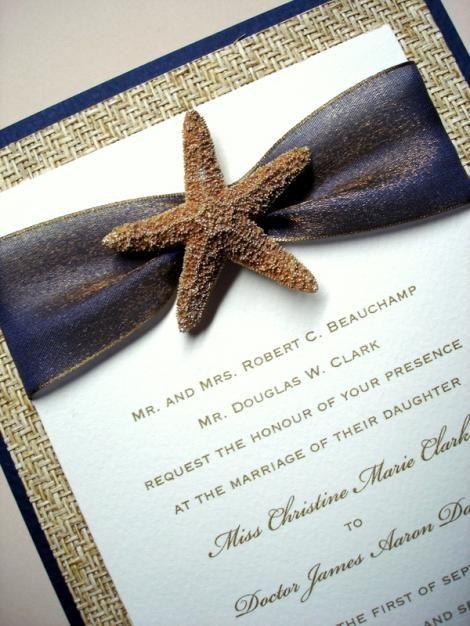 wedding destination starfish beach elegant handmade invitations navy blue