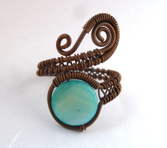 Copper jewelry // wire wrapped jewelry handmade ring// teal mother of pearl // wire jewelry via Etsy