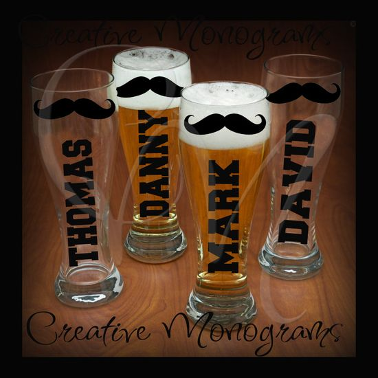 Groom Bestman Groomsman Mustache Pilsner Beer by CreativeMonograms, $4.00