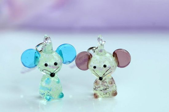 2pc Fluorescent Glass Cute Mice Phone Charms , 3.5mm  Anti -Dust Plug For iPhone 4 4S Samsung HTC Earphone Jack Cap , Dustproof Plug , iPhone Charms Accessories by Cuteaccessoryjewelry, $6.50