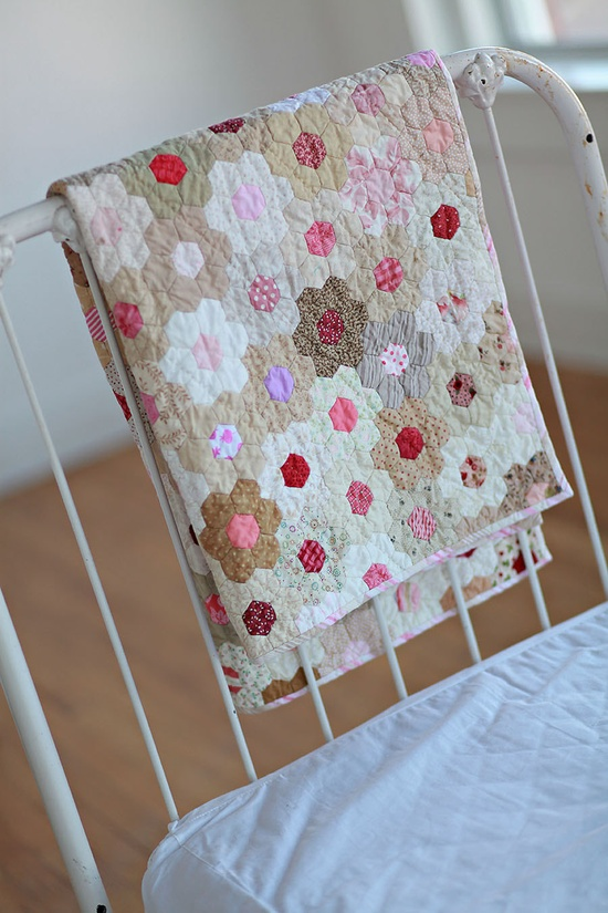 Strawberries and Cream       flower garden hexie quilt. $375.00, via Etsy. Beautiful.