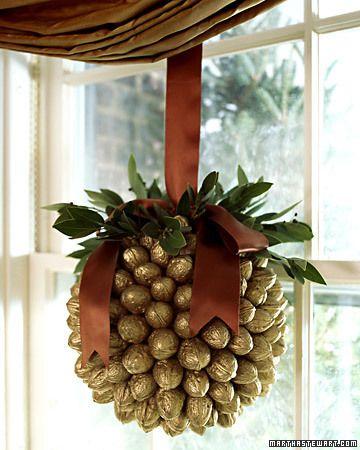 diy:  Walnut ball/ornament... can use acorns, etc. for smaller ornament.