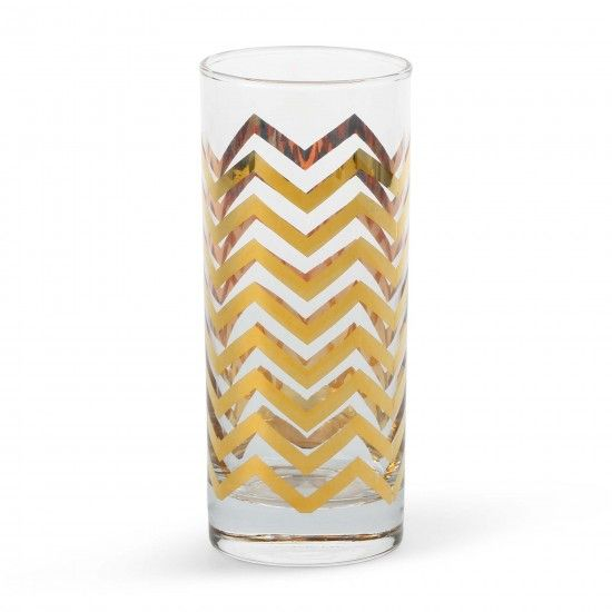 gold chevron highball glasses. holy... can you imagine serving a mojito in one of these bad boys?