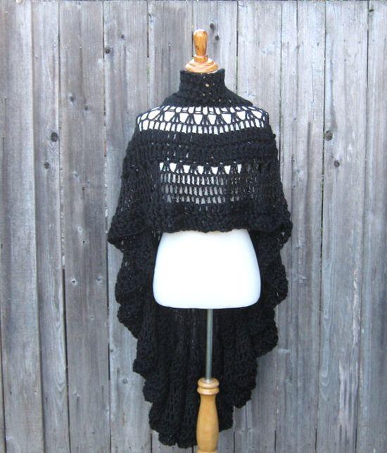BLACK HIPPIE PONCHO Fashion,Vest, Boho, Crochet, Chic, Women, Clothing, Original, Fall, Winter, Handmade, Gift for Her