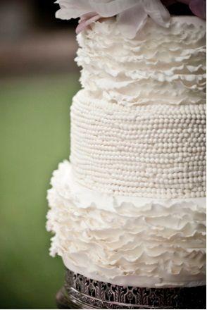 Ruffles + pearls + cake = ? #wedding #cake #white #ruffles