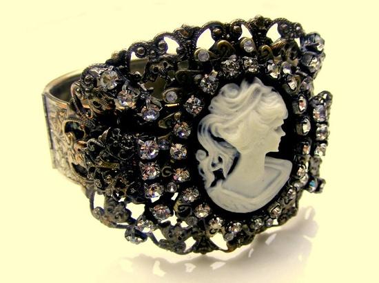 Vintage Rhinestone and Cameo Cuff style Bracelet~