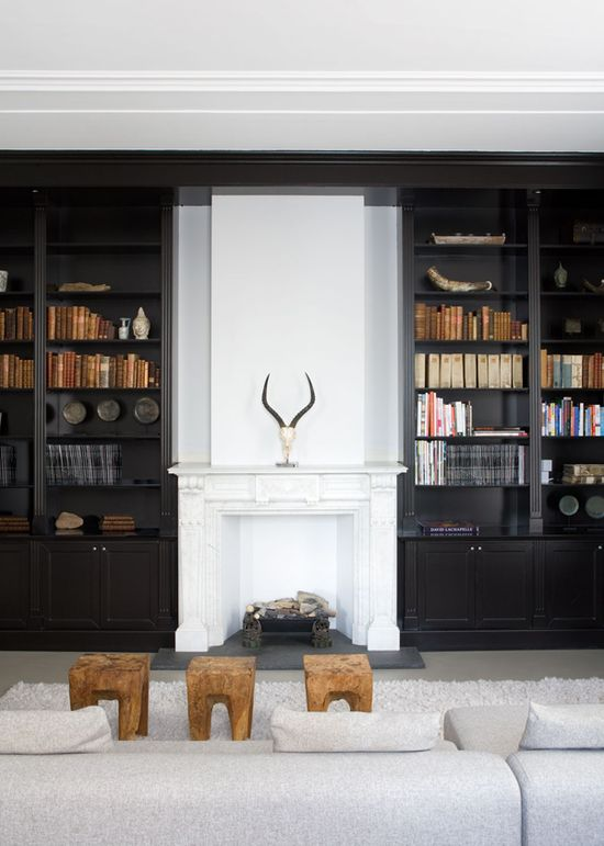 Go Dark & Dramatic. A charcoal grey library. Dutch Interior Designer: Remy Meijers.