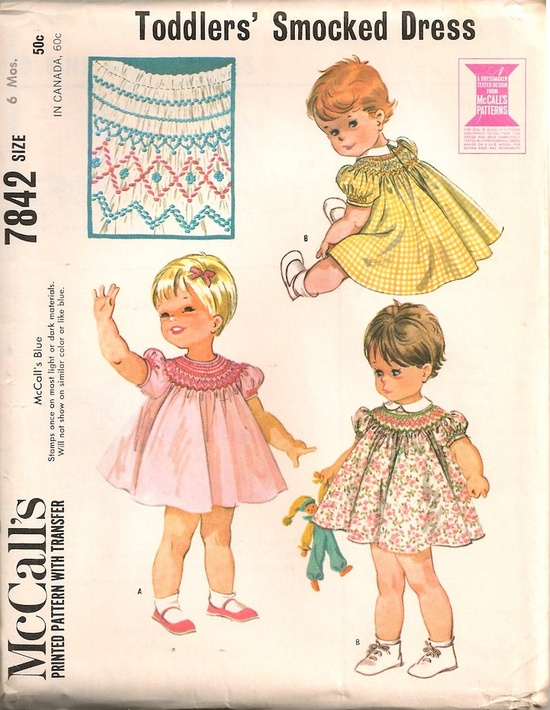 UNCUT Vintage 1960's Baby, Toddlers' Dress Pattern McCall's 7842.
