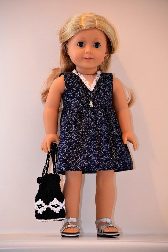 18 inch, American Girl  Doll Clothing. V-neck dress ensemble.