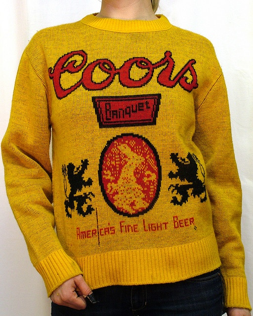 Promotional knit beer sweaters from the 70s and 80s. All were unearthed by AJ Fosik. Unfortunately none of these trophies are for sale.