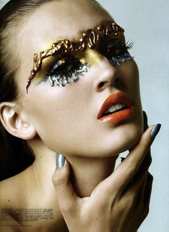Silver and gold face paint make up art beauty picture