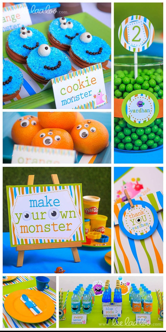 Little Monster Birthday Party  printable decoration by www.leelaaloo.com