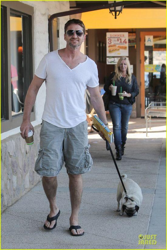 Gerard Butler walking his cute pet pooch Lolita