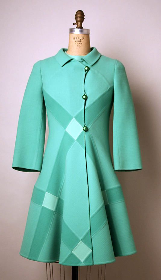 Turquoise wool ensemble (dress and coat), by Mila Schön, Italian, ca. 1968.