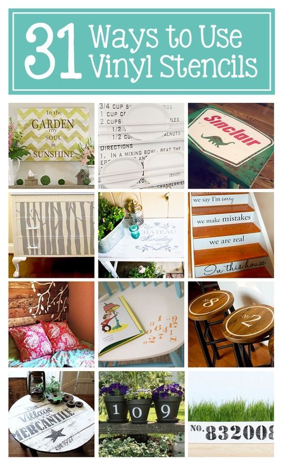 DIY:: 31 Ways to Use Vinyl Stencils in Home Decor — Frugal ways to add character and personality to almost any surface! (Tutorials for
