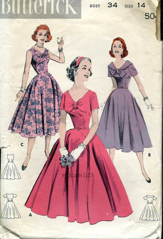 Vintage 1950s Tab or Tie Front Dress Pattern...Full by sydcam123, $16.00