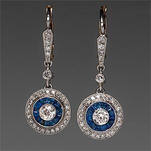 1920's Art Deco Sapphire & Diamond Earrings