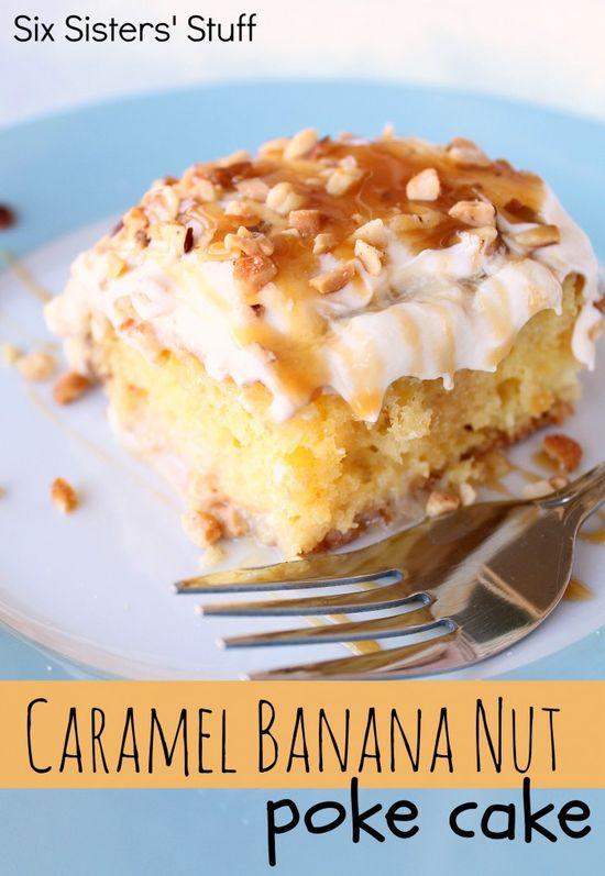 Caramel Banana Nut Poke Cake Recipe