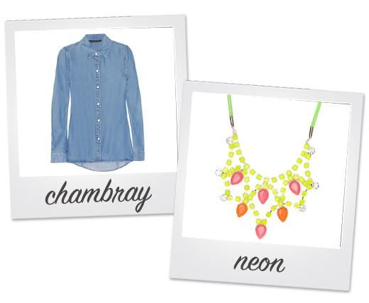wear a buttoned up chambray top and a neon statement necklace