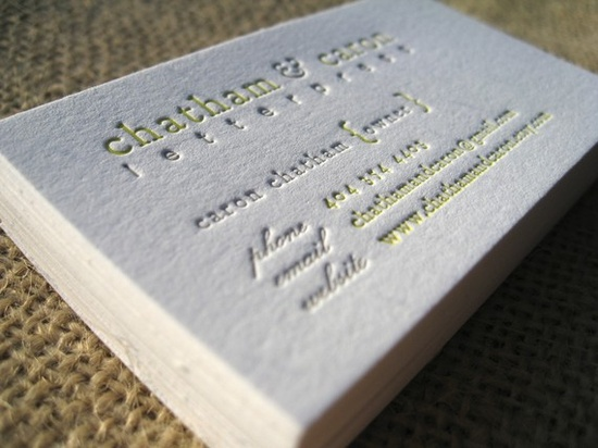 letterpress business cards.  yummy.