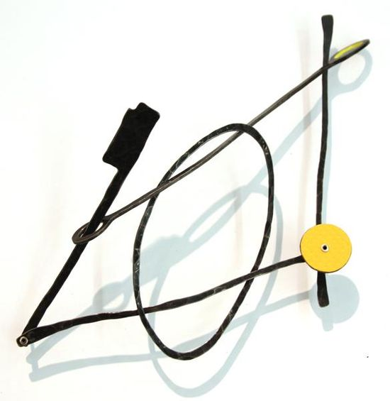 Réka Fekete - Sun in the sky - 2013 brooch - steel, laminate, silver, aluminium, paint