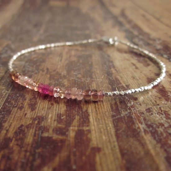 Pink Tourmaline Bracelet with Karen Hill Tribe Silver Beads. $48.00, via Etsy.