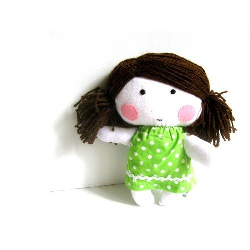 Rag doll stuffed doll toy soft doll soft toy softie rag doll toy handmade plushie stuffed puppet girl white green cloth dress 11 27 cm via Etsy
