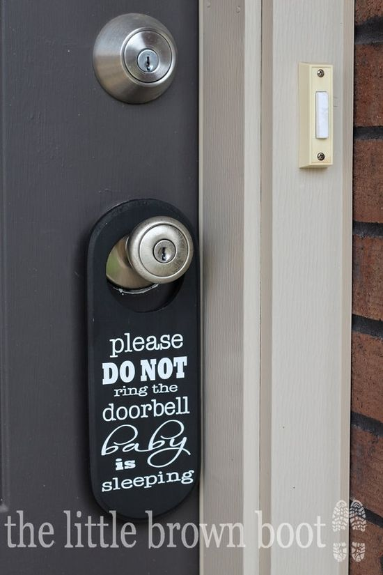 Ooh, this is smart. (Custom DO NOT Ring Door sign by The Little Brown Boot on Etsy)