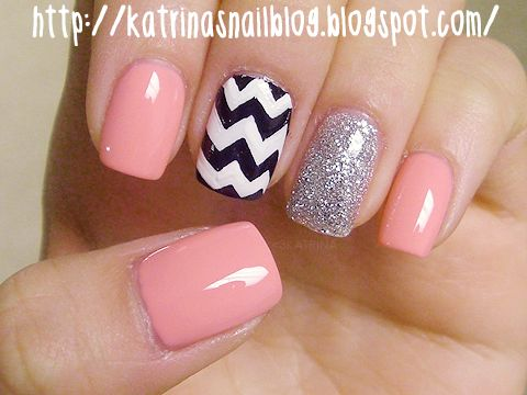 (pink chevron nails