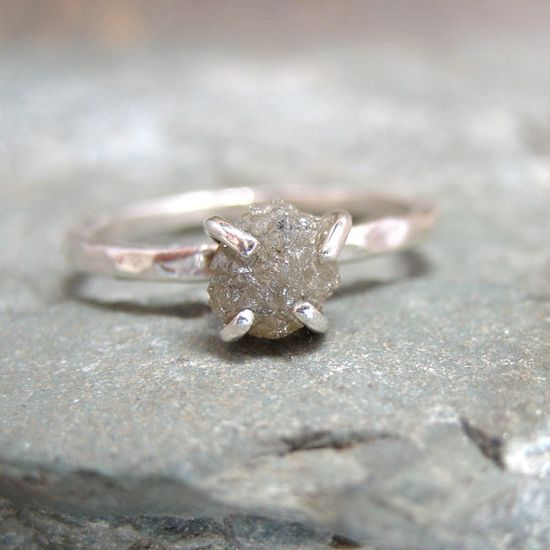 Rough Diamond Solitaire and Sterling Silver Stacking Ring - Silver Artisan Jewellery - Handmade and Designed by A Second Time.  (@Jessica Massoth Bride, have you seen these?)