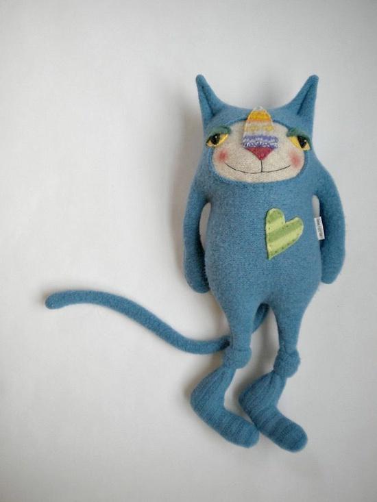 Cat Stuffed Animal Upcycled Blue Wool Sweater