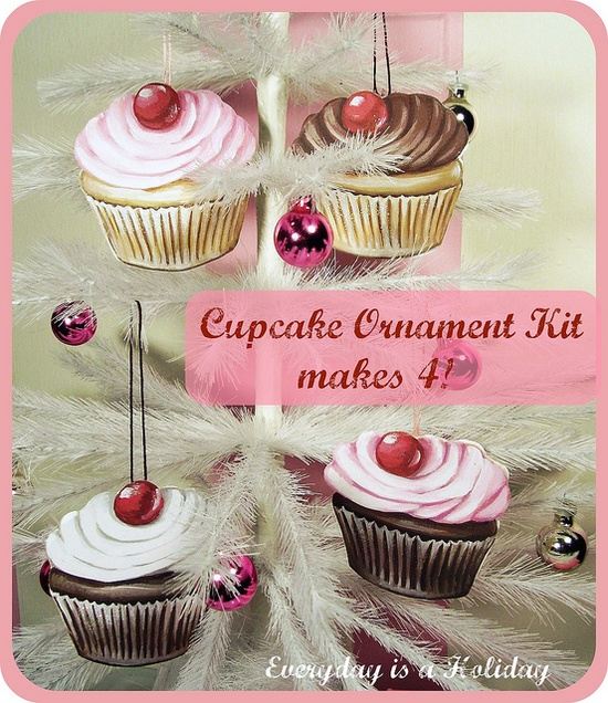 Cupcake Ornament KIT from Everyday is a Holiday   www.everydayisaho...  #Christmas #ornaments #craft #pink #cute #art #print #retro #gift #kitchen