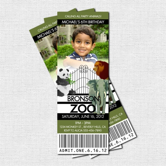 Personalized ZOO TICKET Animal Birthday Party Invitations