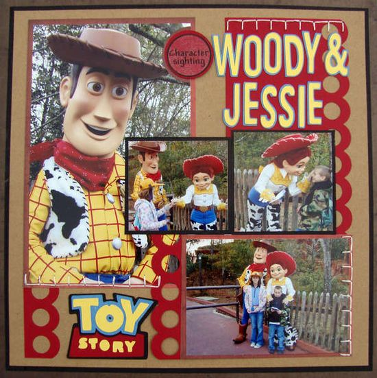 #papercraft #scrapbook #layout #Disney Layout: Woody and Jessie