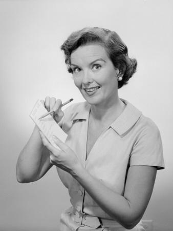 A 1950s homemaker jotting down a checklist. #vintage #1950s #homemaker