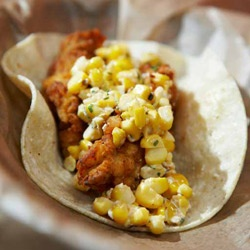 From El Taco in Atlanta -Fried Chicken Taco, Mexico City grilled corn in lime mayo, crumbled Mexican cheese