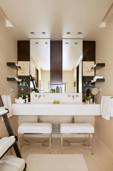 Bathroom - Totally symmetrical in design....love the decor, elements and palette.  Great design for a small space accommodating two persons.