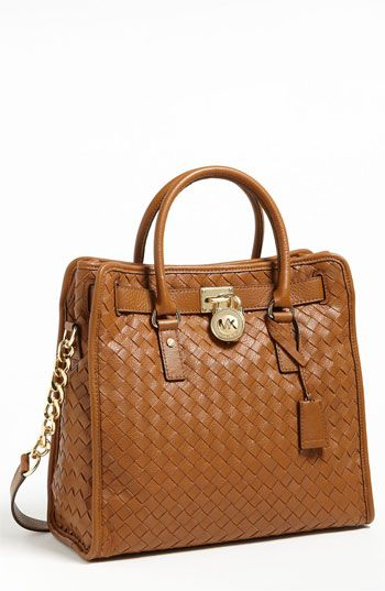 MICHAEL Michael Kors 'Hamilton - Large' Woven Leather Tote
