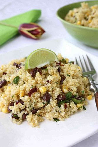 quinoa with black beans, corn, chipotle, and lime