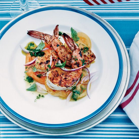Barbecued Spiced Shrimp with Tomato Salad // More Grilled Shrimp Recipes: www.foodandwine.c... #foodandwine
