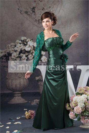 Hunter Green Handmade Flower/ Beading Column Floor-Length Mother Dresses with Lace Jacket