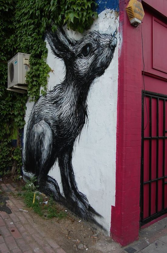 Rabbit wall ...  ... Awesome street art!