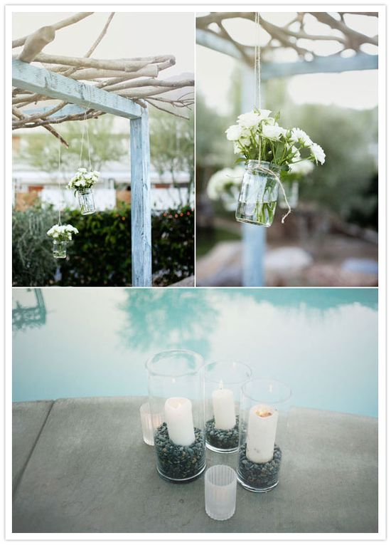 Hanging jars with flowers...great idea