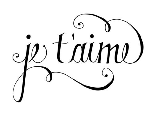 * je t'aime~ French for I love you.