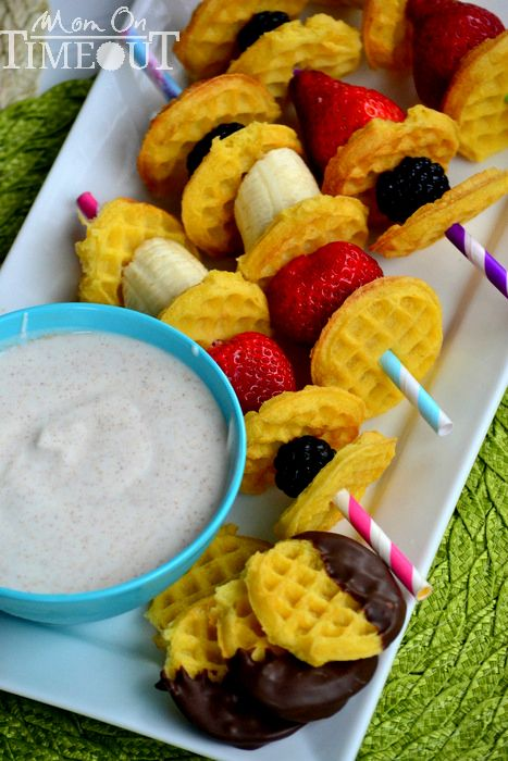 Fruit N Waffle Kabobs with Maple Cinnamon Yogurt Dip... The perfect dip for fruit and waffles made with Greek yogurt. Lots of other waffle recipes too!