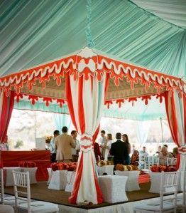 aqua + red + white tent? oh heck yeah.
