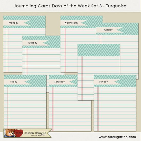 INSTANT DOWNLOAD - Printable Journaling Cards Days of the Week 3 - Turquoise - Project Life - Scrapbooking