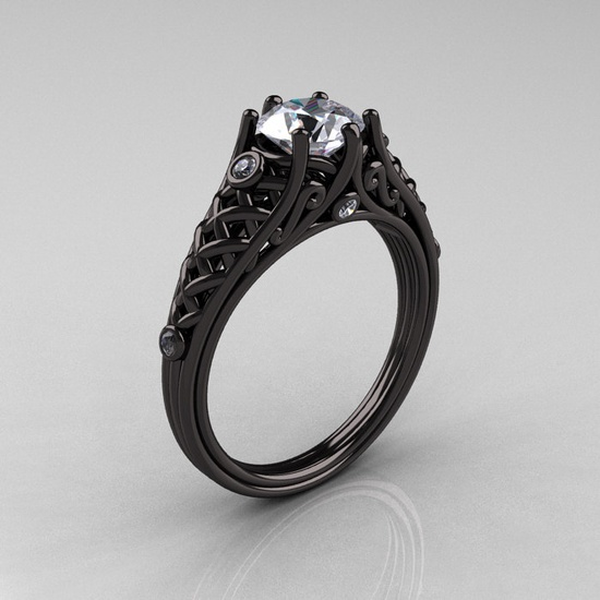 Designer Exclusive Classic 14K Black Gold 1.0 Carat White Sapphire Diamond Lace Ring by artmasters