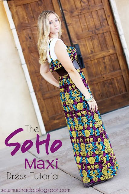 I think i could actually make this!  Maxi dress from Sew Much Ado. So cute! #maxi #sewing #dress