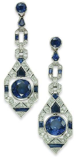 Art Deco Sapphire and Diamond Earrings  1925